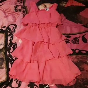 Emily West girls 10 pink tiered and ruffled dress